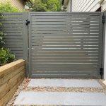 Aluminium Slat Gate Woodland Grey