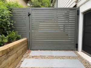 Aluminium Slat Gate Woodland Grey